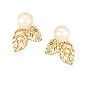 Kate Spade Lavish Blooms Pearl Gold Earrings